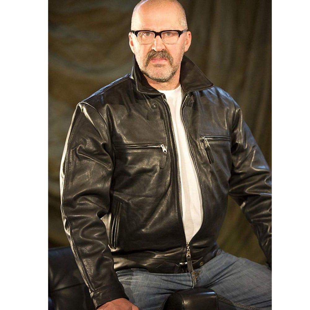 plain black biker jacket
