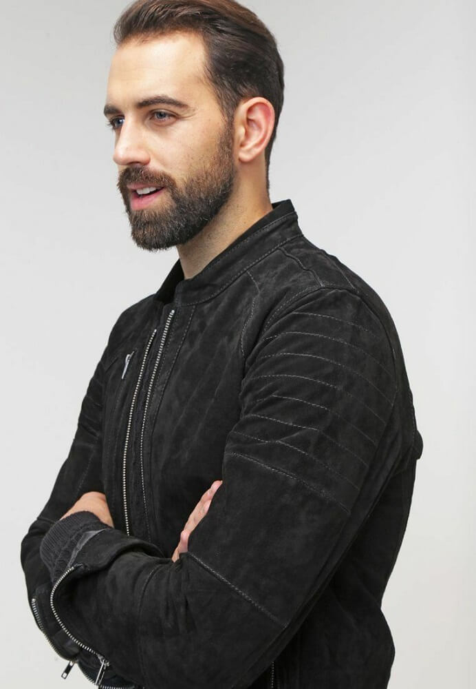 mens black suede jacket