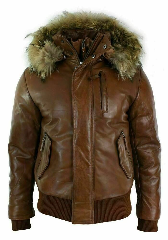 bomber jacket with fur hood