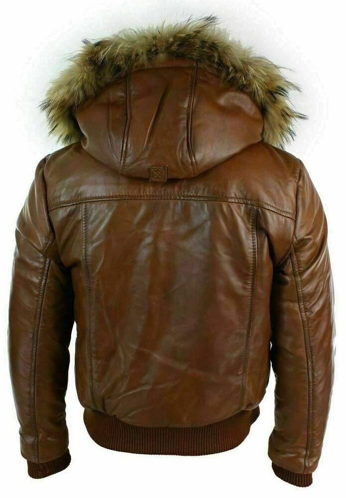 bomber jacket with fur hood back side