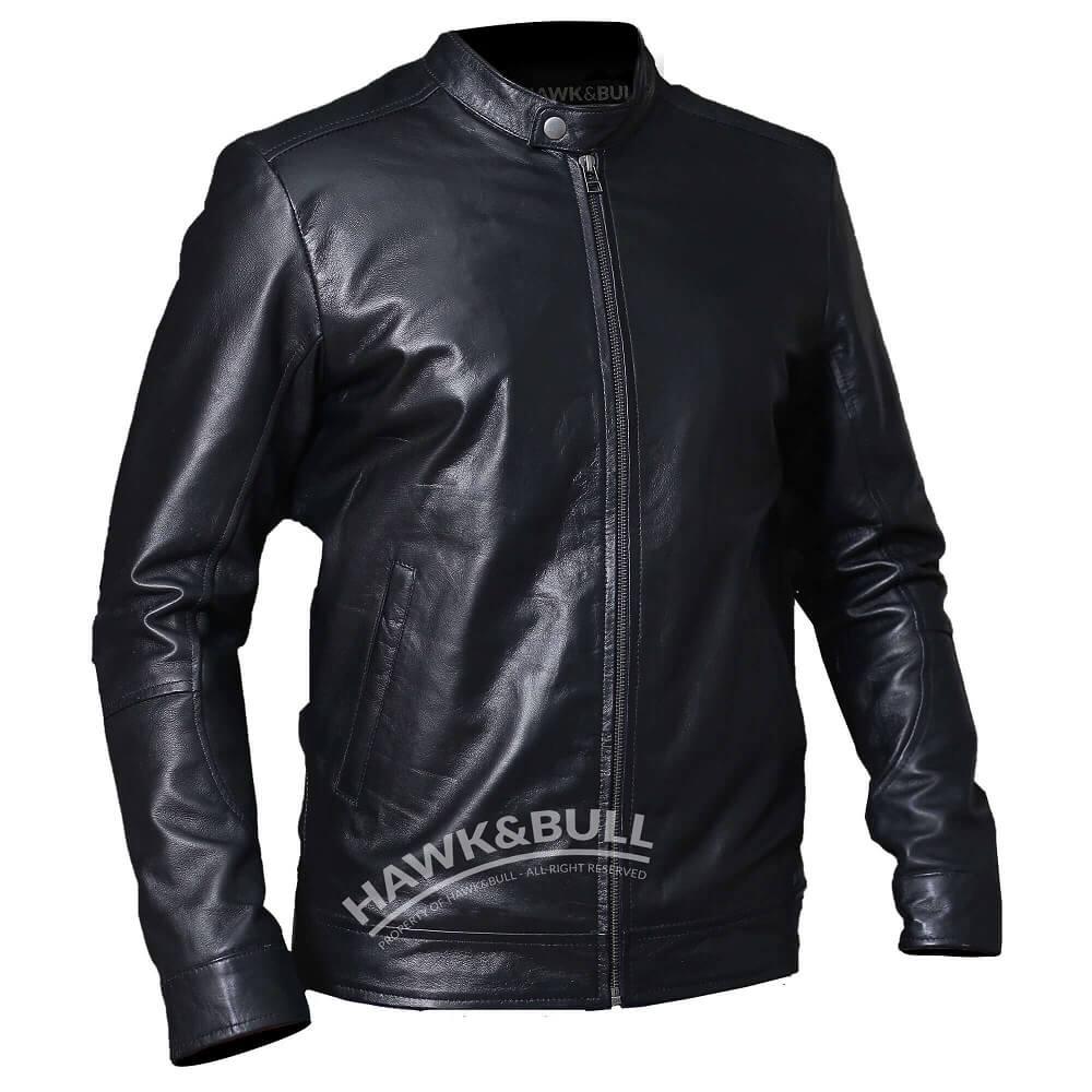 black mens riding jacket left side