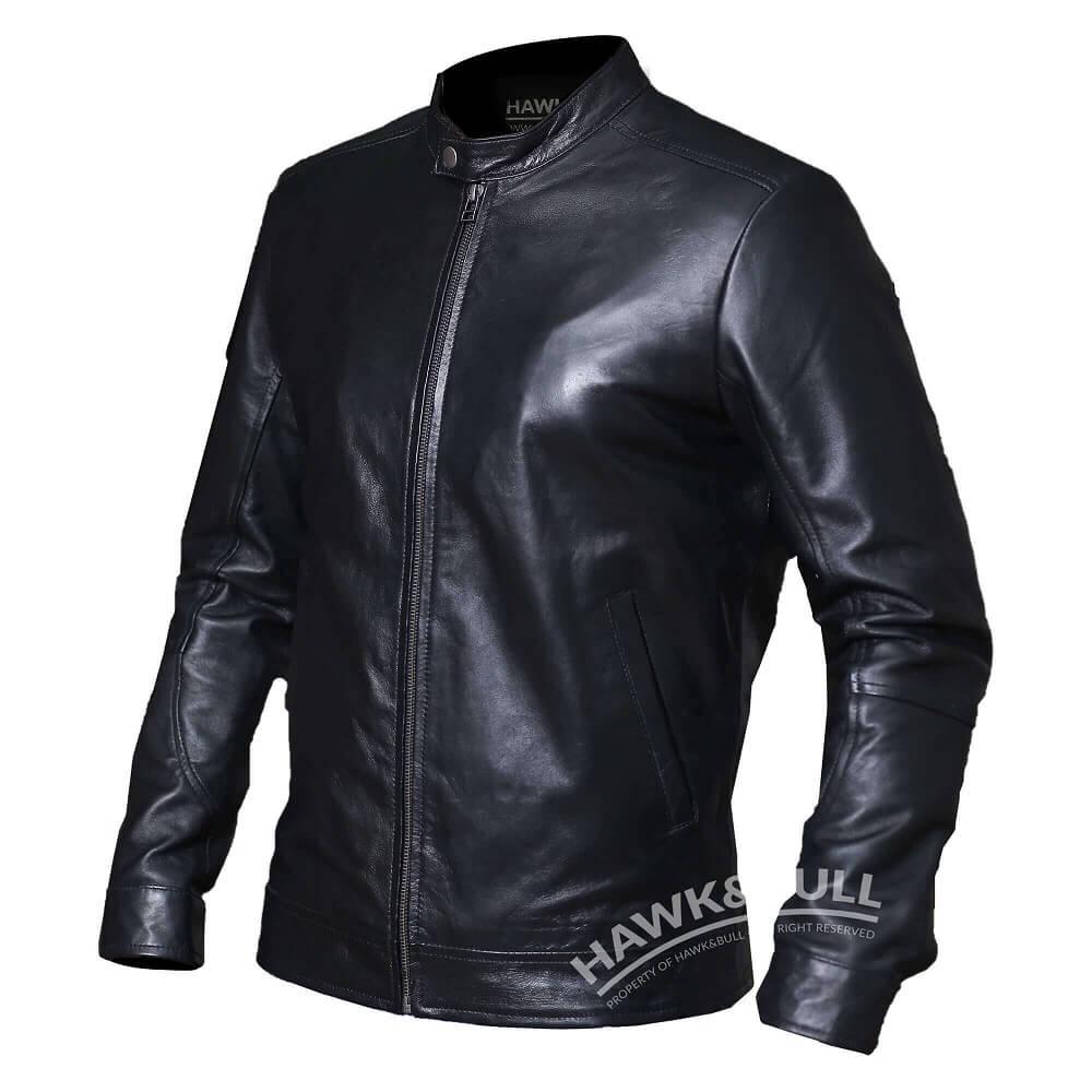 black mens riding jacket right side