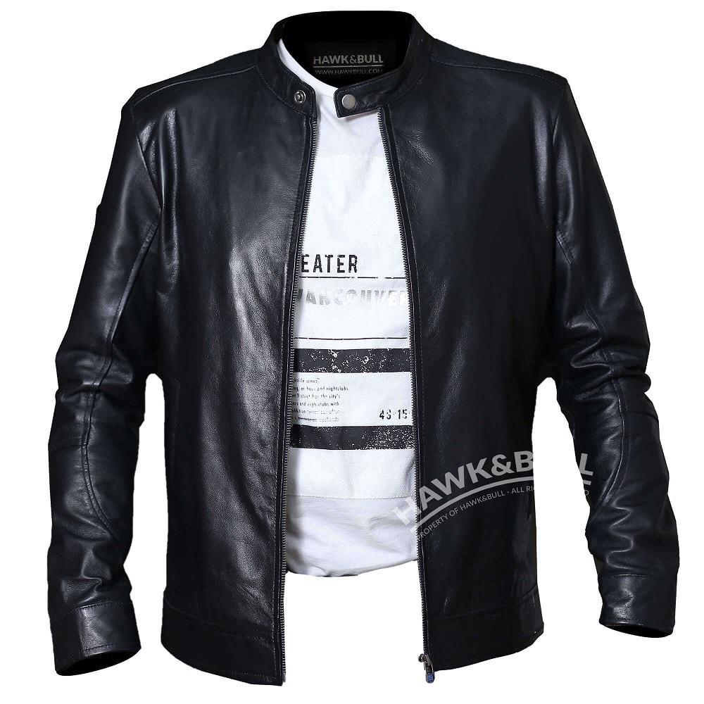 black mens riding jacket