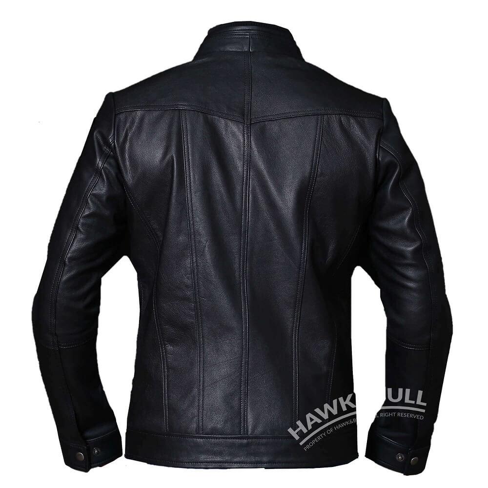 mens vintage black leather jacket