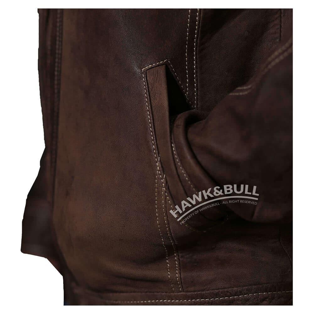 mens vintage brown leather jacket pocket shot