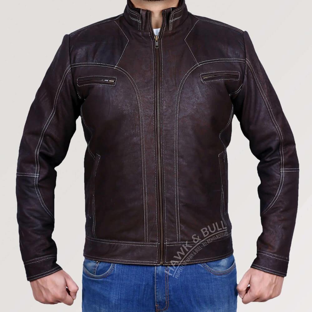 dark brown leather jacket vintage front