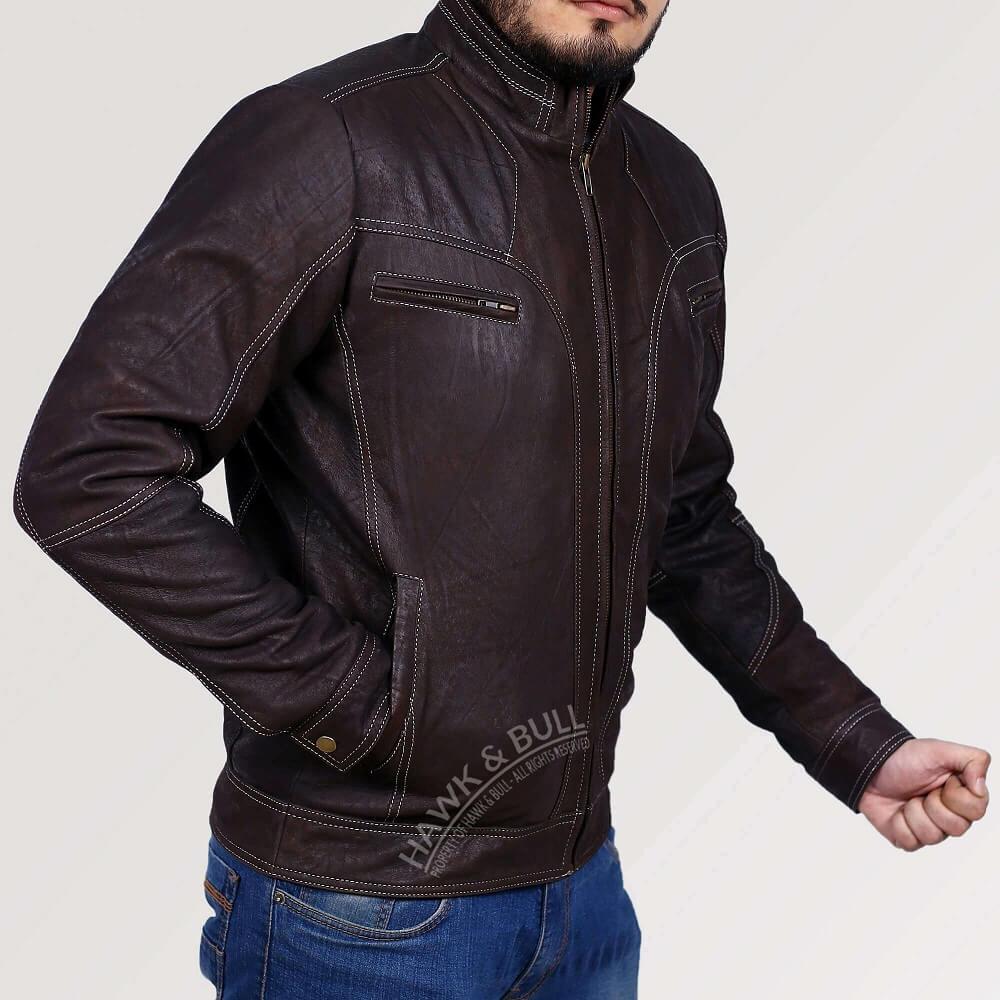 dark brown leather jacket vintage