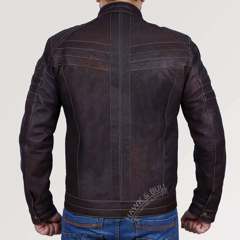 dark brown leather motorcycle jacket