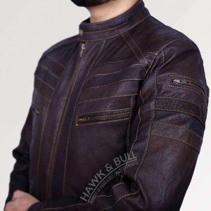 dark brown leather motorcycle jacket