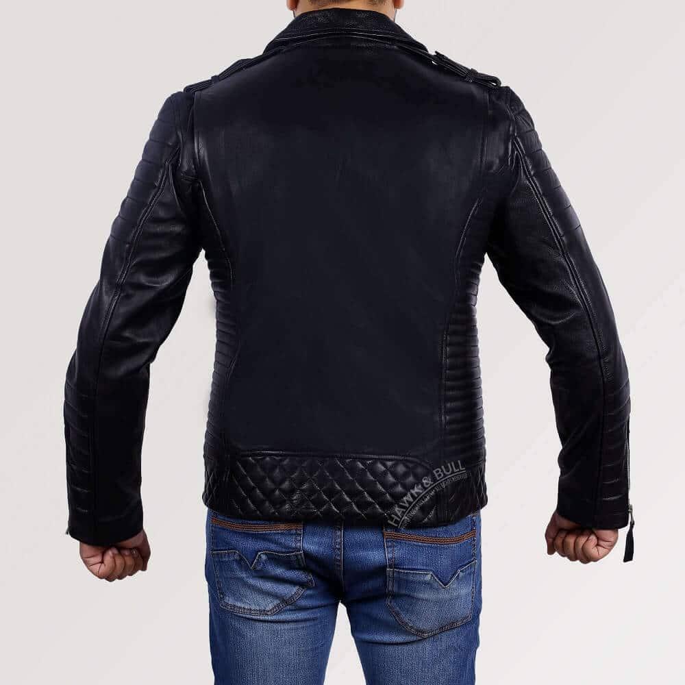 kay michaels leather jacket back side