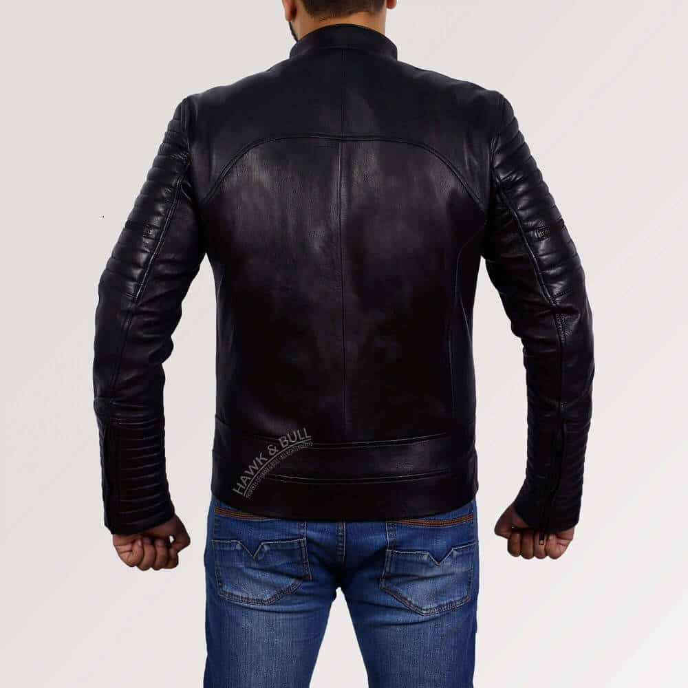 mens black leather riding jacket back side