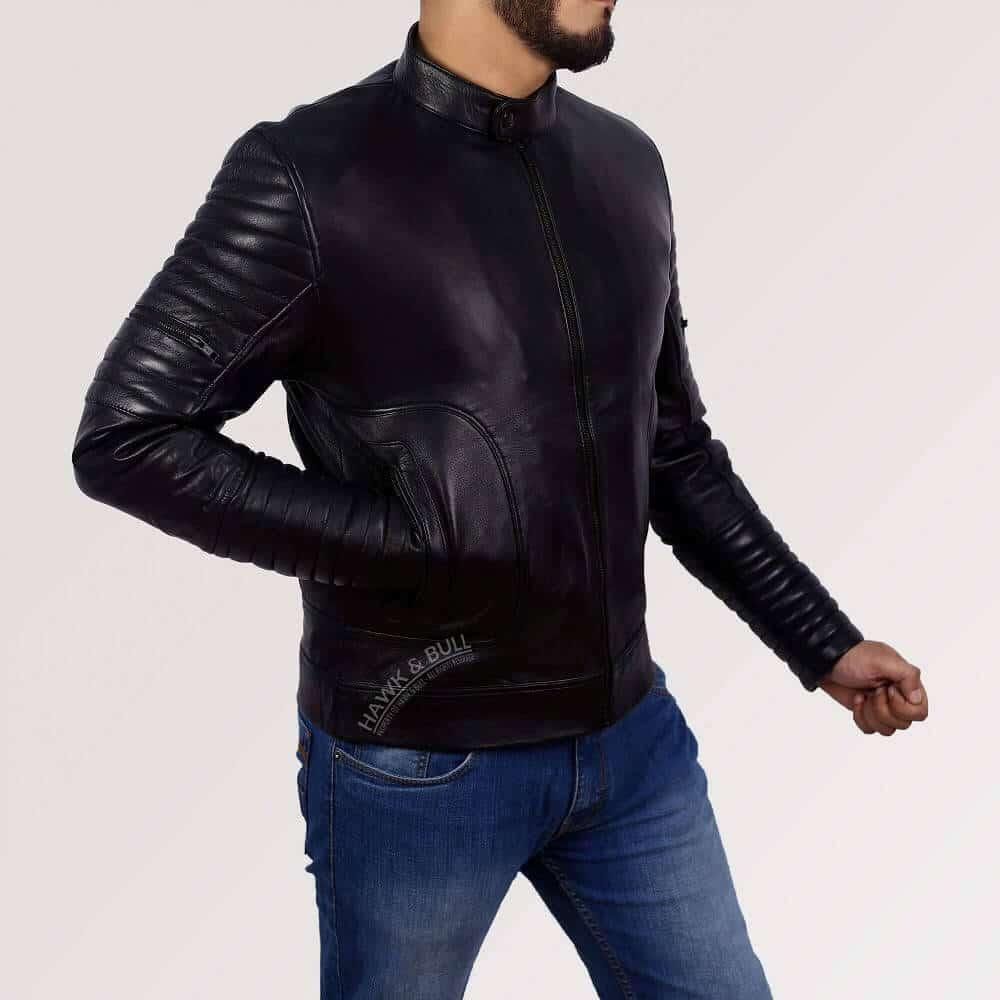 mens black leather riding jacket left side