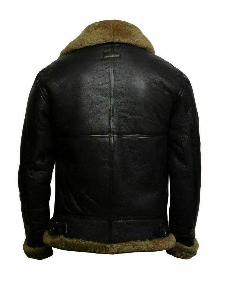 mens leather bomber jacket with fur collar back side