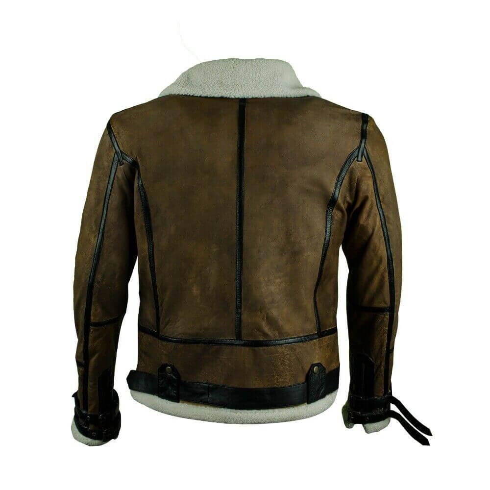 dark brown bomber jacket back side