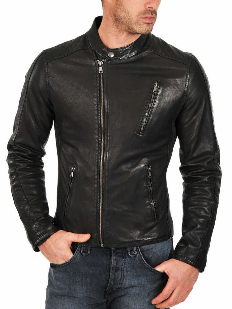 mens black leather racer jacket front side