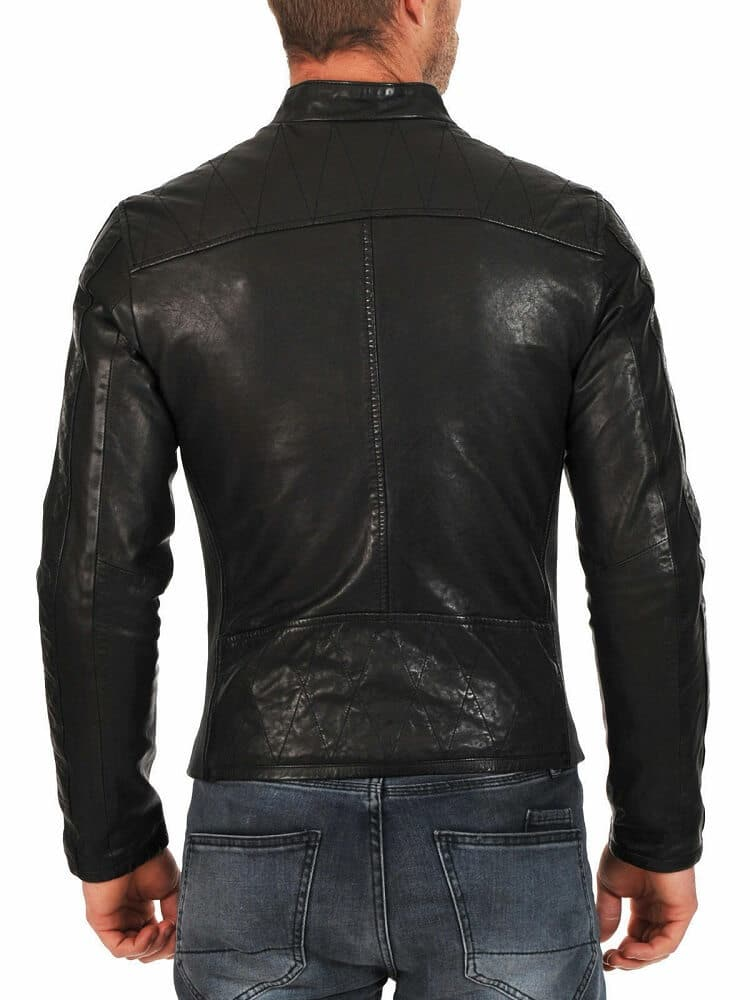 mens black leather racer jacket backsite