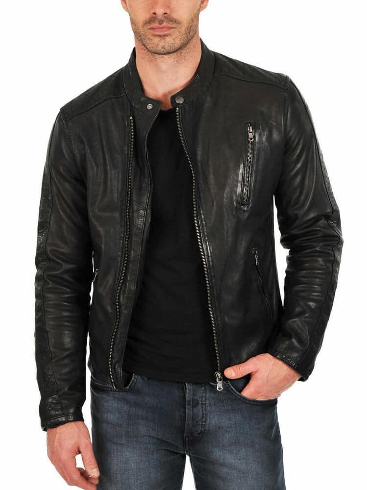 mens black leather racer jacket