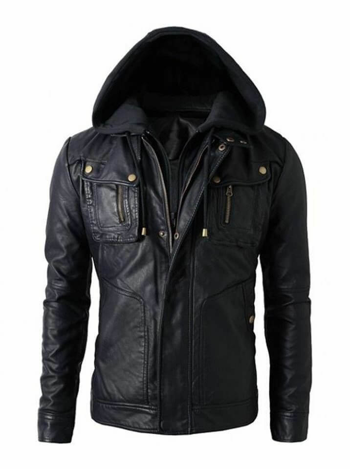 mens black hooded jacket