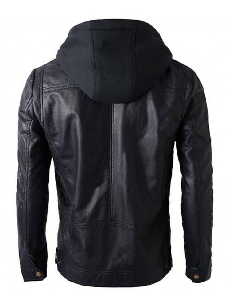 mens black hooded jacket back side