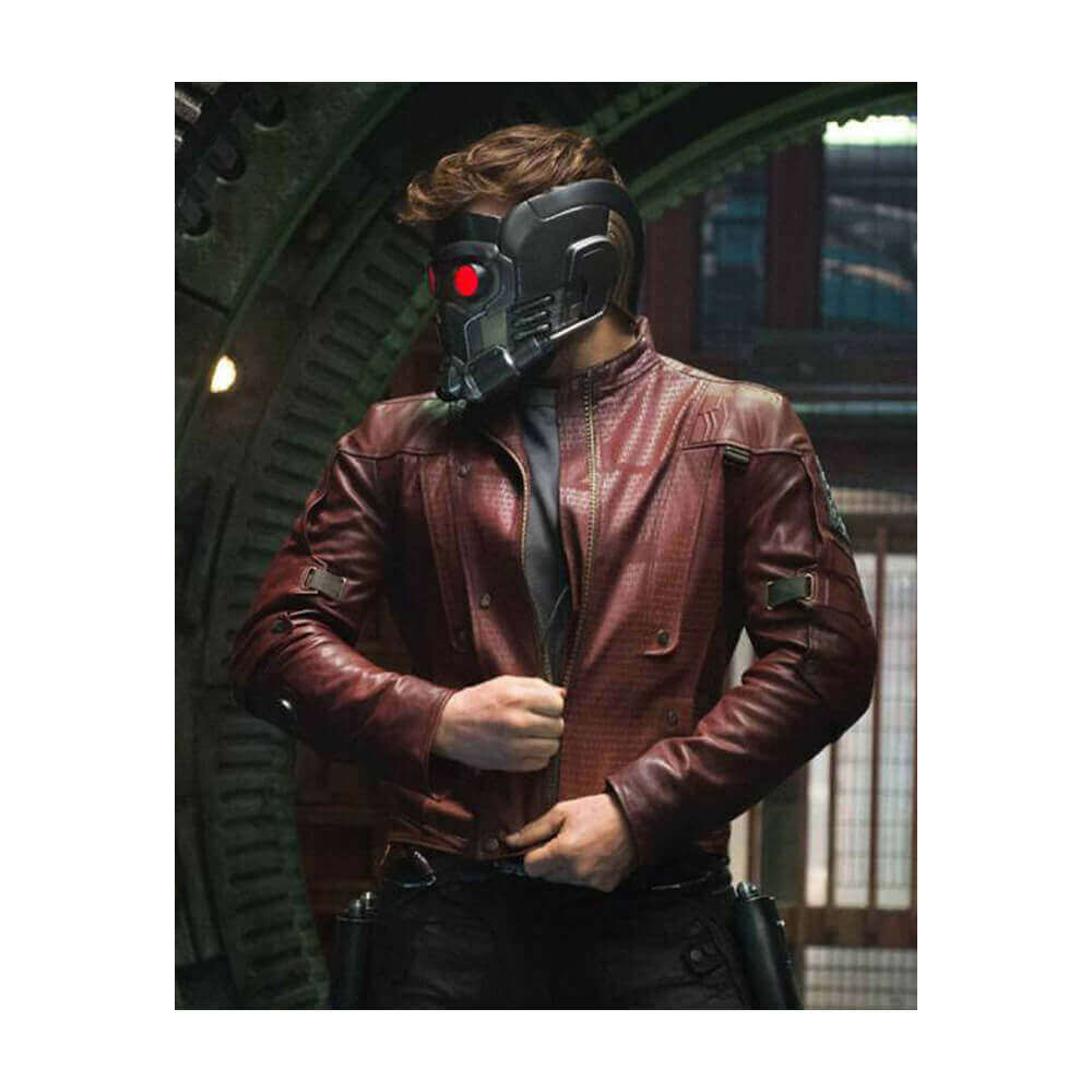 star lord maroon leather jacket movie scene