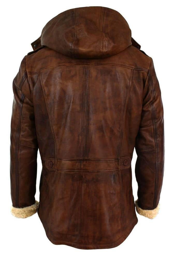long brown faux fur coat back side